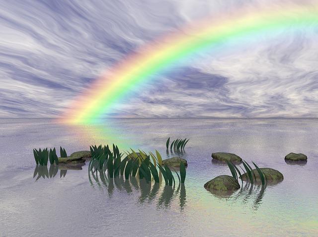 De breking van licht zoals te zien in een regenboog